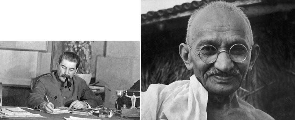 kis ember és nagy ember diktátor vs demokratikus vezető Sztálin vs Gandhi Szakmaiság és Demokrácia Pártja